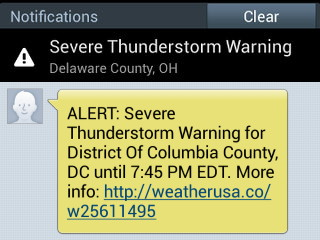 Alert example on a mobile device