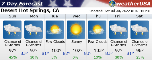 Click for Forecast for Desert Hot Springs, California from weatherUSA.net