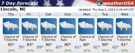 Click for Forecast for Lincoln, Nebraska from weatherUSA.net