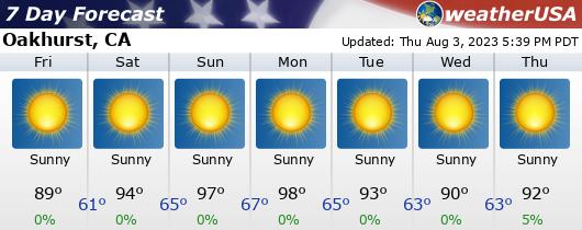Click for Forecast for Oakhurst, California from weatherUSA.net