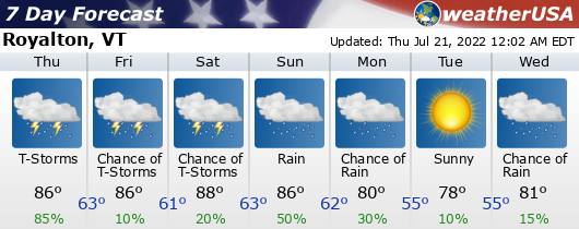 Click for Forecast for Royalton, Vermont from weatherUSA.net