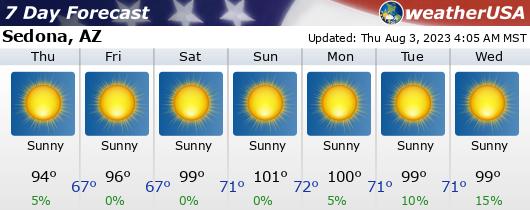 Click for Forecast for Sedona, Arizona from weatherUSA.net