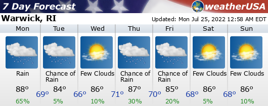 Click for Forecast for Warwick, Rhode Island from weatherUSA.net